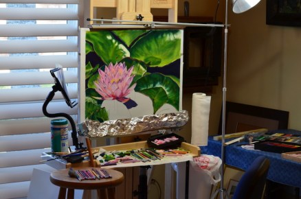 Process of painting a lily flower