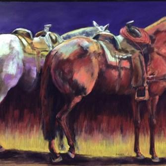 Saddled horses painting