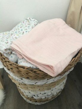 My basket of muslin cloths