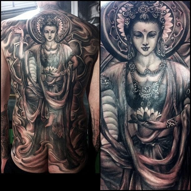 7.zhuo dan ting tattoo work 中国飞天佛纹身