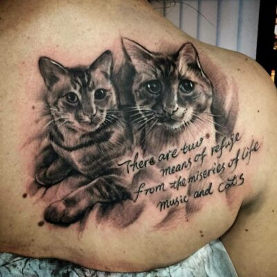 zhuo dan ting tattoo work 卓丹婷纹身作品猫肖像纹身 1