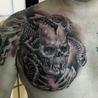 zhuo dan ting tattoo work 卓丹婷纹身作品骷髅 1