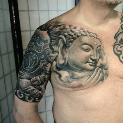 zhuo dan ting tattoo work 卓丹婷纹身作品 半胛佛纹身 1