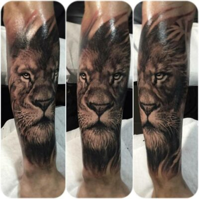 zhuo dan ting tattoo work lion tattoo卓丹婷写实狮子纹身 1