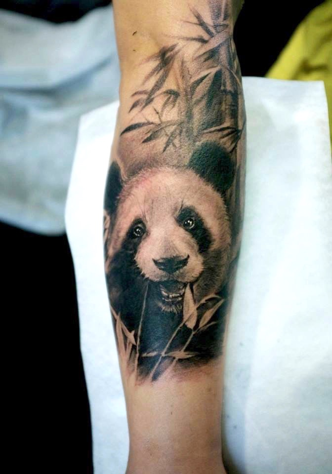 zhuo dan ting tattoo work panda tattoo的、卓丹婷纹身熊猫