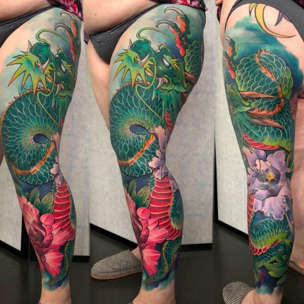 3-Zhuo-Dan-Ting-Tattoo-work-卓丹婷纹身作品-彩色花腿龙纹身