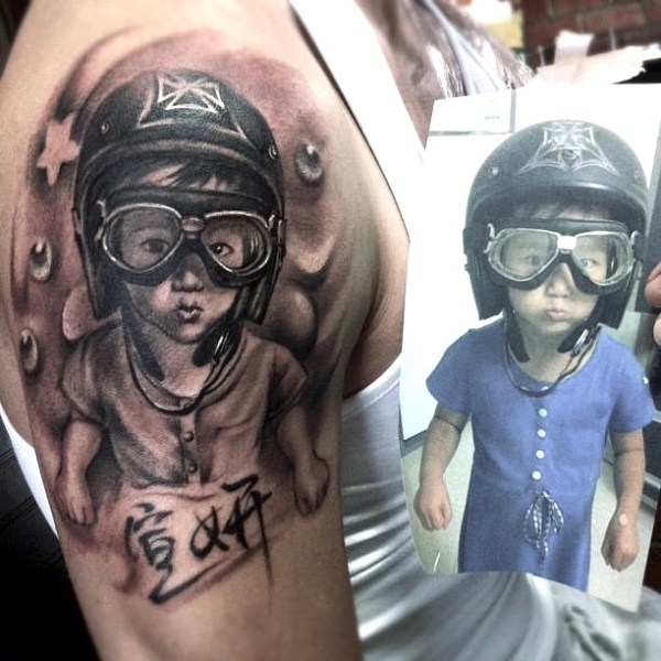 Zhuo-Dan-Ting-Tattoo-Work-kid-Realism-portrait-tattoo卓丹婷写实肖像纹身