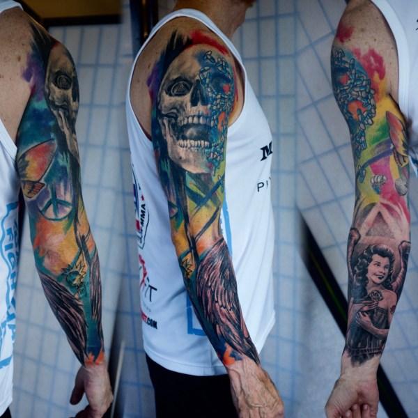 Zhuo-Dan-Ting-Tattoo-work-卓丹婷纹身作品-彩色花臂设计纹身
