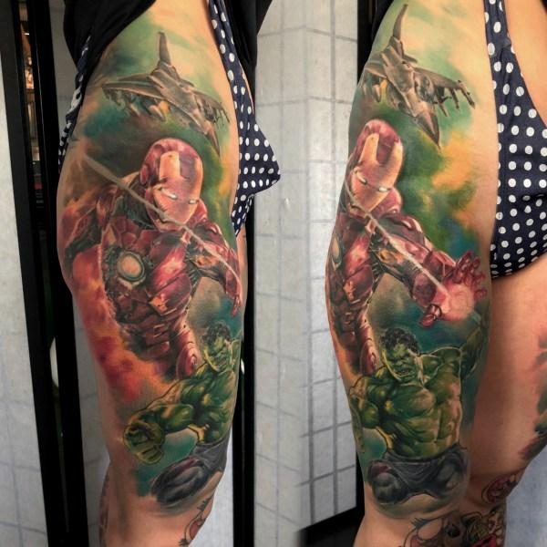 Zhuo-Dan-Ting-Tattoo-work-IronMan-and-Hulk-卓丹婷纹身作品-钢铁侠绿巨人纹身