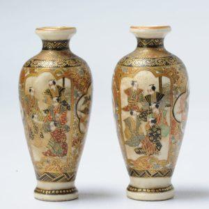 Antique Beautiful Japanese Satsuma Vases Landscape Figures Japan Porcelain 19C
