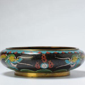 Antique Bronze / Copper Cloisonné Burner Inscense Koro China 19/20th C
