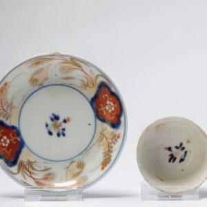 Pair 18C Japanese Porcelain Flower Tea Cup Bowl & Saucer Saucer Imari Quails Edo Period