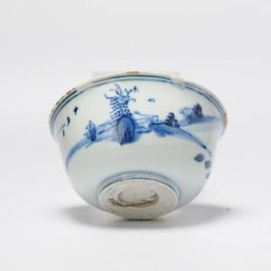 Antique Chinese Ming/Transitional Period Porcelain Bowl Figural landscape Kintsugi
