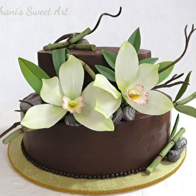 Bamboo and orchid cake by Shani's Sweet Art