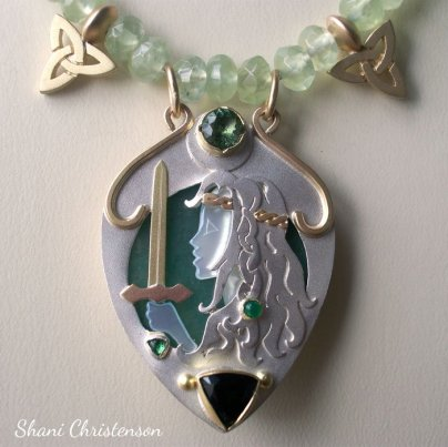 silver and gold cameo necklace Shani Christenson