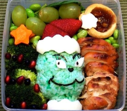 Grinch bento lunch