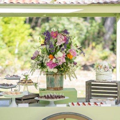Boho style wedding dessert cart