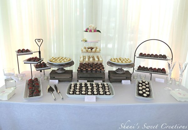 Rustic elegant wedding dessert table display