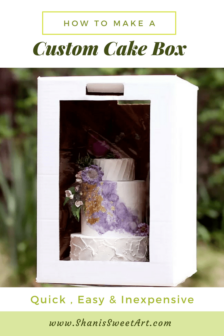 How to make professional looking custom cake boxes that are quick, easy and very inexpensive. #cakebox #customcakebox #cakebusiness #cakedecorating #caketutorial