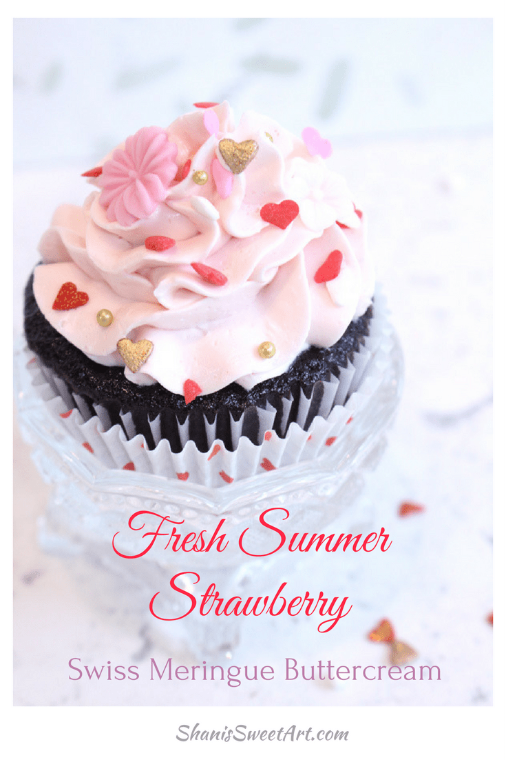 Learn to make luscious fresh strawberry Swiss meringue buttercream made with the juice of ripe strawberries #swissmeringuebuttercream #smbc #buttercreamrecipe #strawberryswissbuttercream #strawberrybuttercream #strawberryfrosting #frostingrecipe