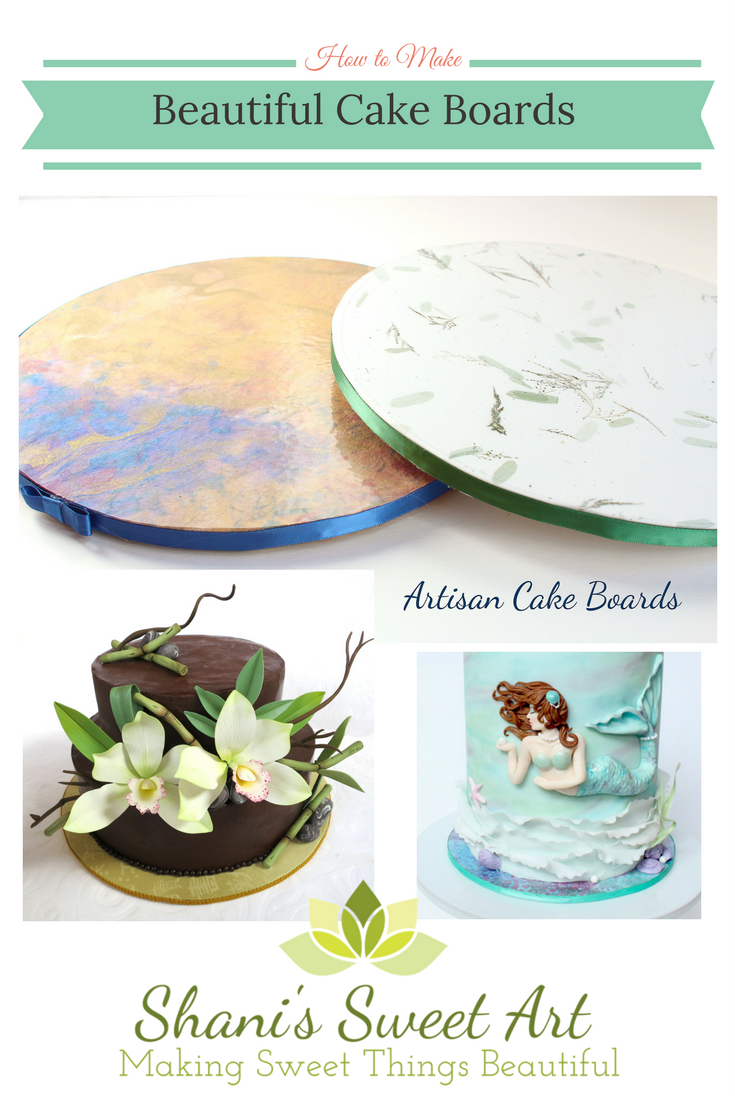 Learn how to make gorgeous custom cake boards to match any cake design using beautiful papers. A quick and affordable alternative to fondant cake boards  #cakeboard #customcakeboard #cakebusiness