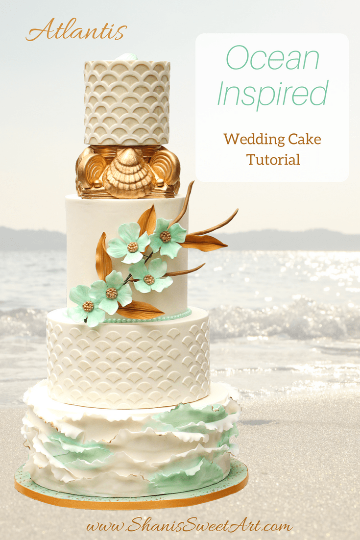 Learn to create this elegant ocean inspired wedding cake with this full length video tutorial.  #cakedecorating #caketutorial #weddingcake #oceanweddingcake #shanissweetart