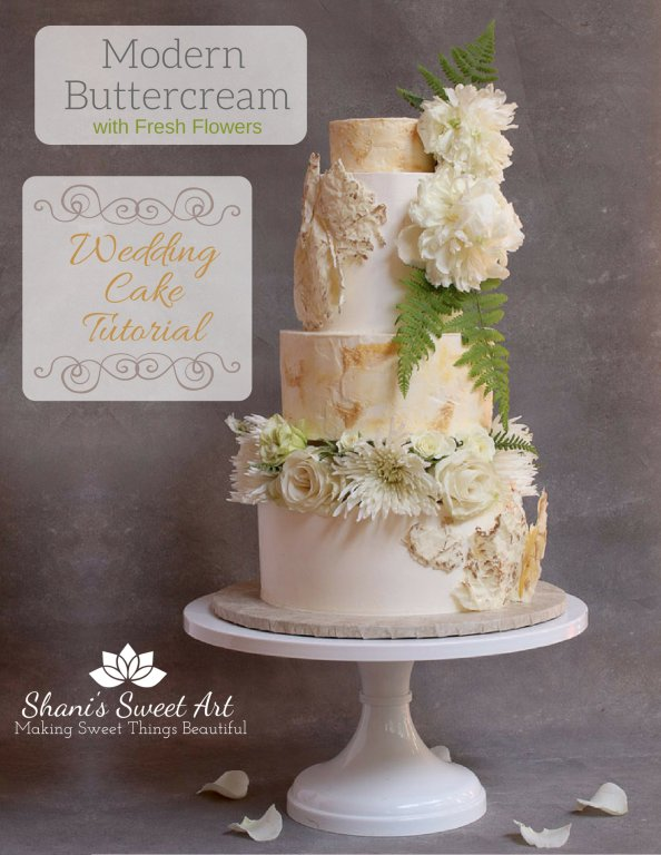 learn to make a modern buttercream wedding cake with fresh flowers tutorial