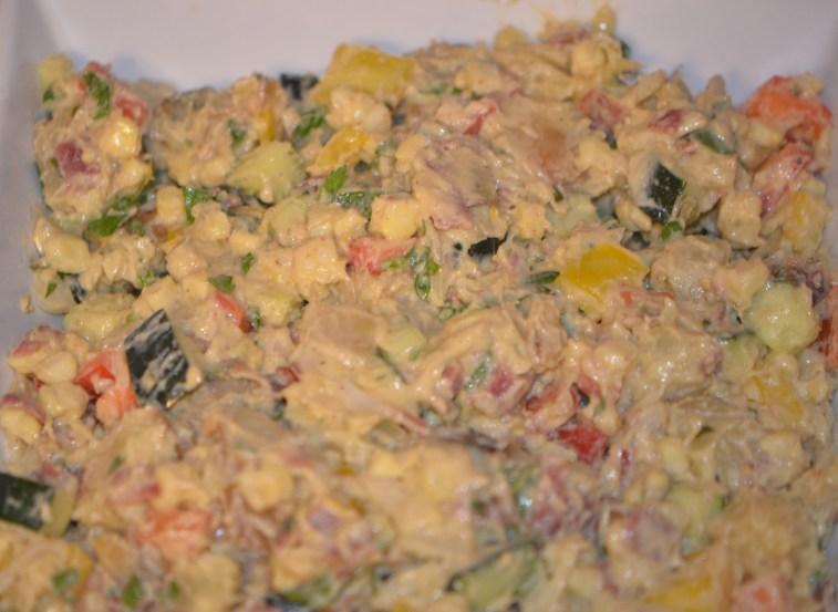 Mix roasted and fresh veggies with yogurt dressing and crisp turkey bacon.