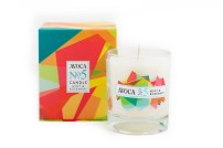 This is another of Avoca's candles and its packaging. The colours used is this are nice and bright and the patterned design is simple.