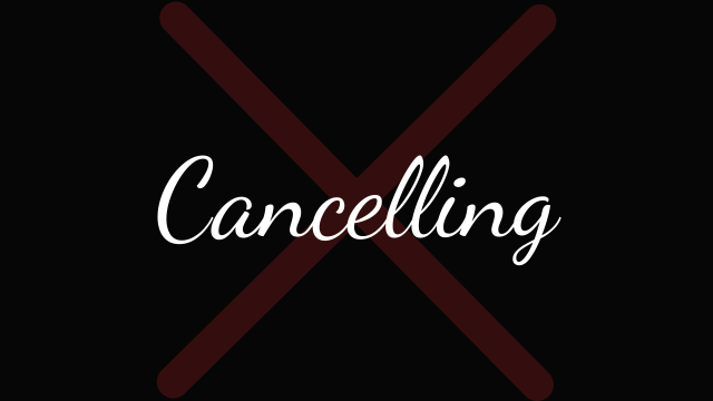 "Rowling and Cancel Culture: ""Cancelling"" with black background and red X"