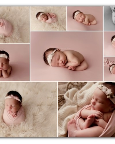newborn girl session; cream and pink colors