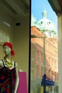 Reflecting on Henry Street, Dublin, Ireland, March 2011