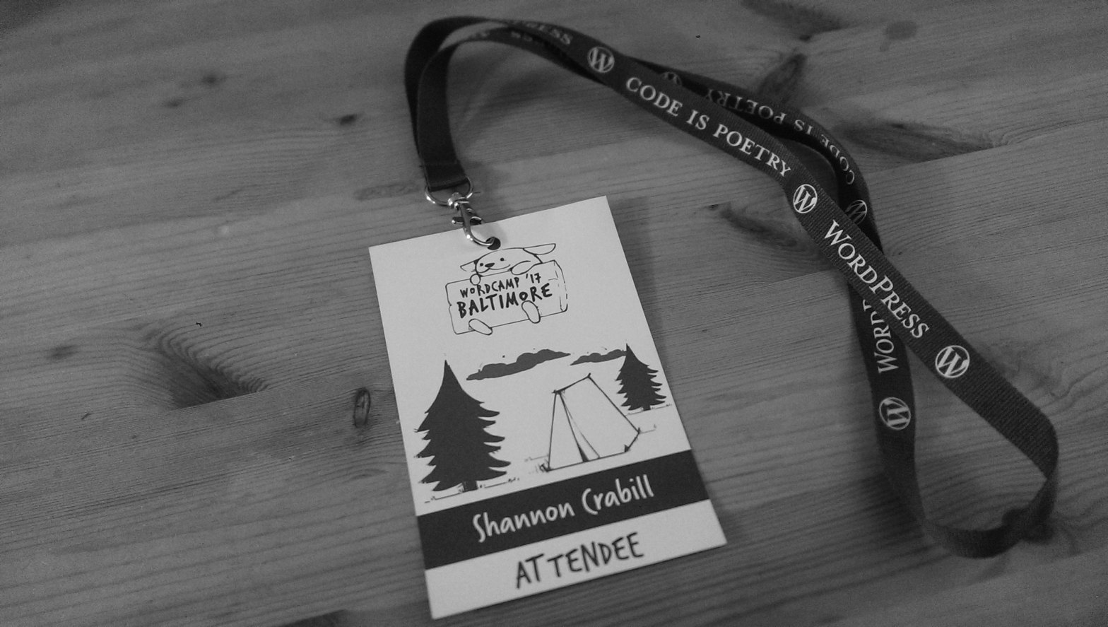Lanyard from the 2017 Baltimore Wordcamp