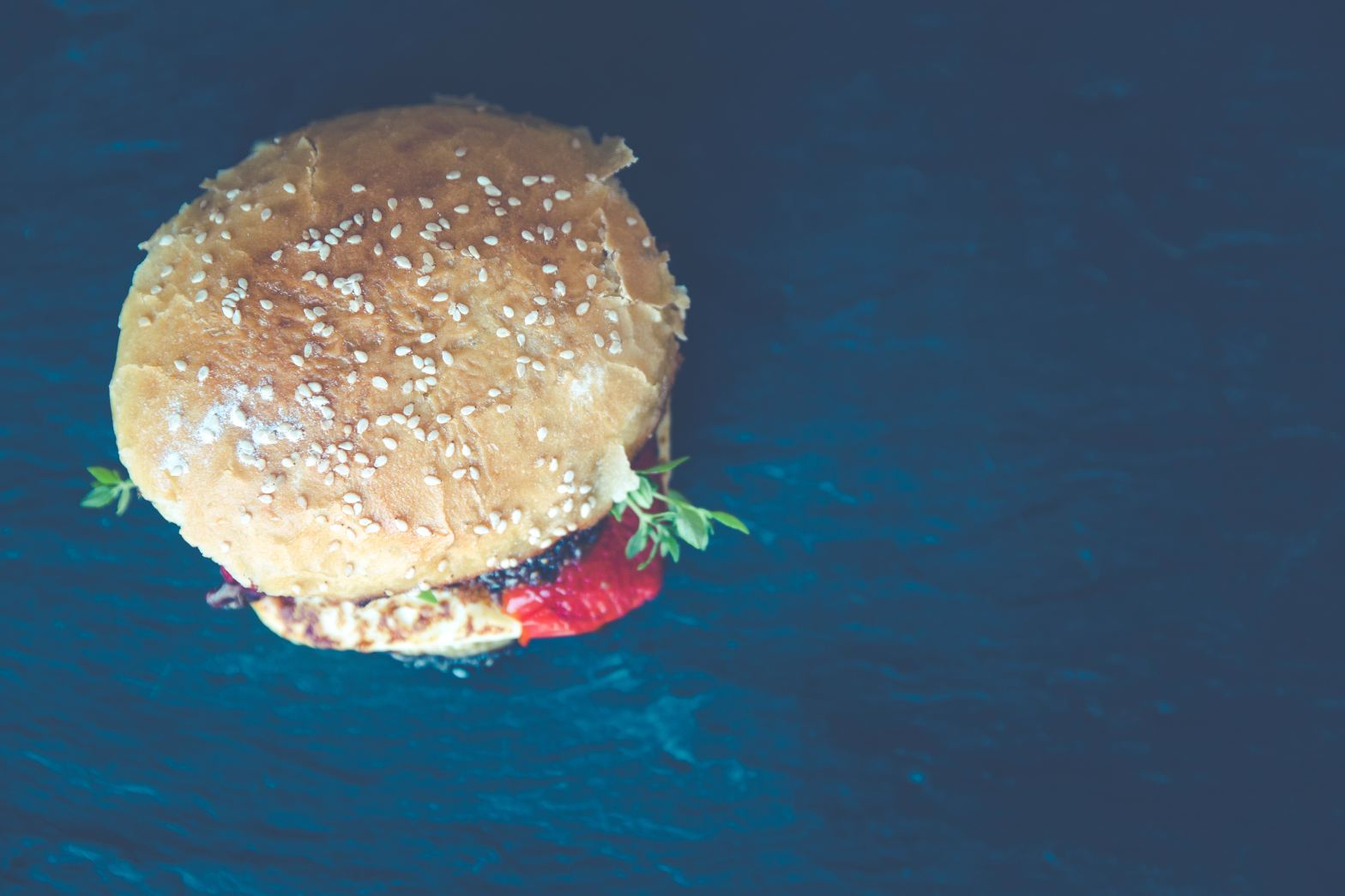 Arial shot of hamburger on a dark background