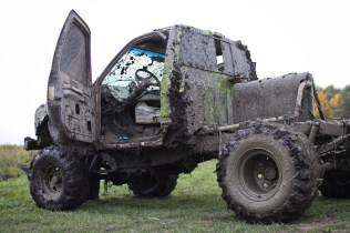 """""""Kermit the Frog"""" after driving through mud pits in Farwell, Mich. on Friday Oct. 4, 2013."""