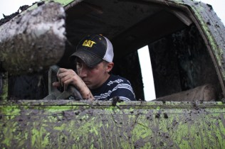Logan Douglas, age 16, tries to start his truck for the sixth time with no luck in Farwell, Mich. on Friday Oct. 4, 2013.