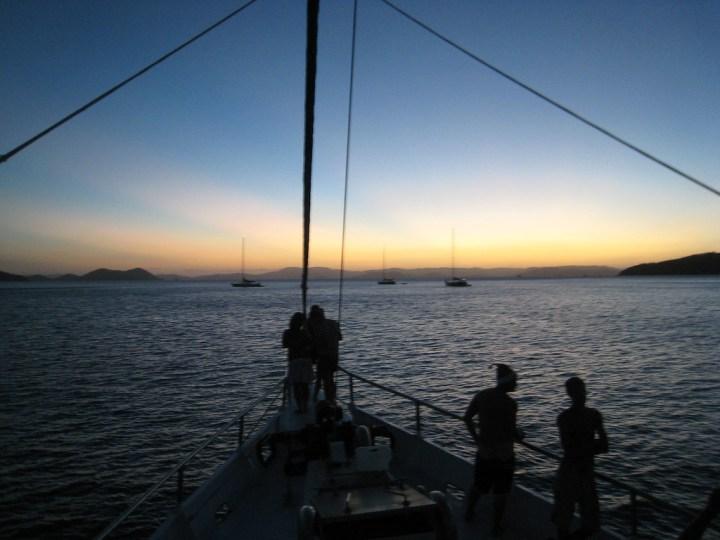 Sunset from sailboat on Whitsundays