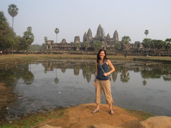 Posing at the temples of Angkor Wat in Cambodia