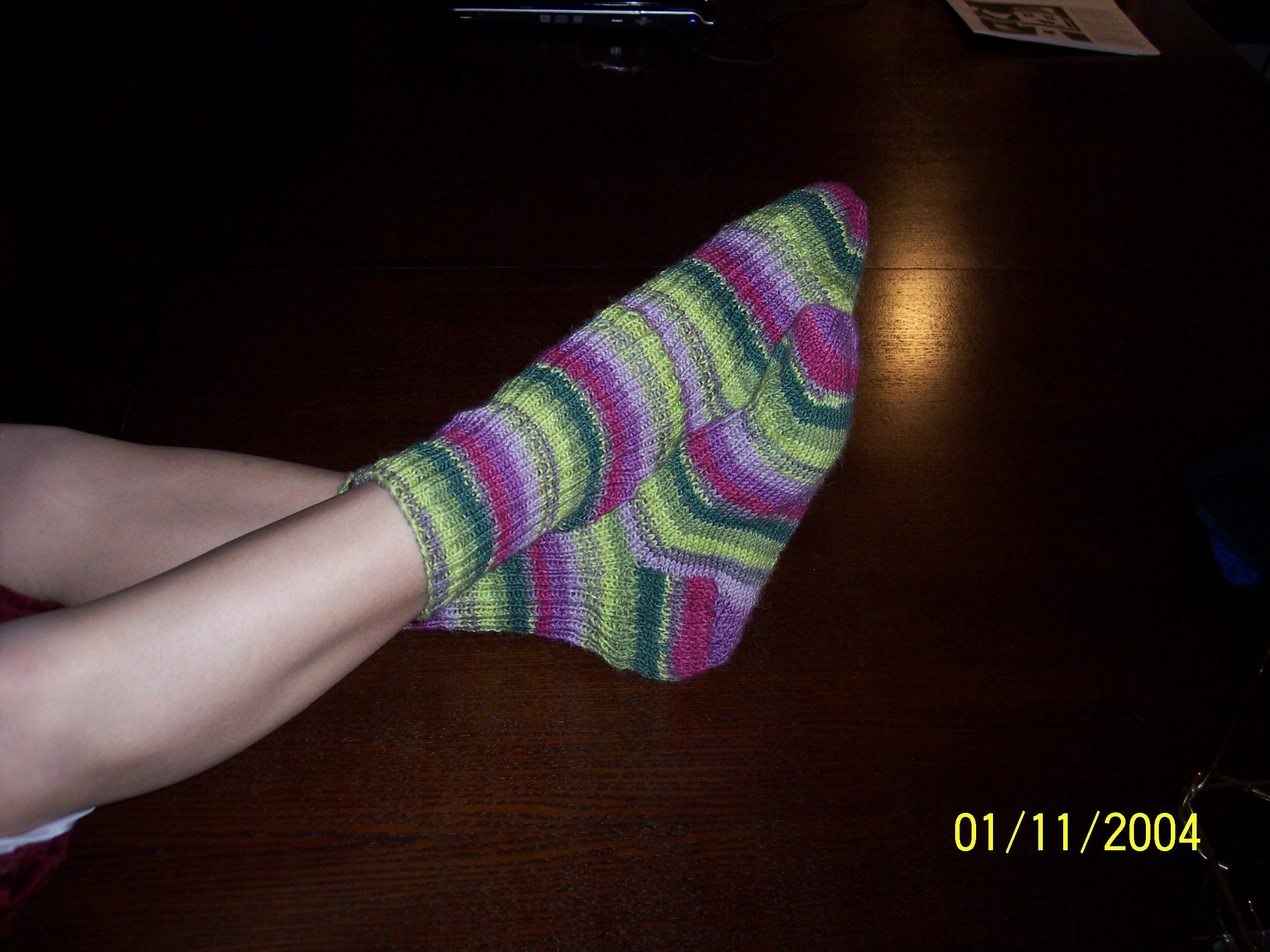 N modeling her new socks