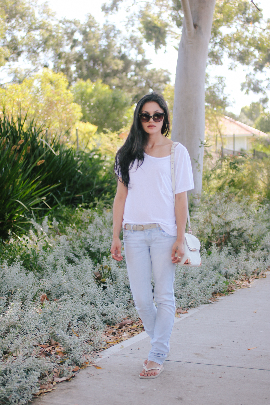 Mink Pink tee with jeans & Alexander Wang Marion bag.