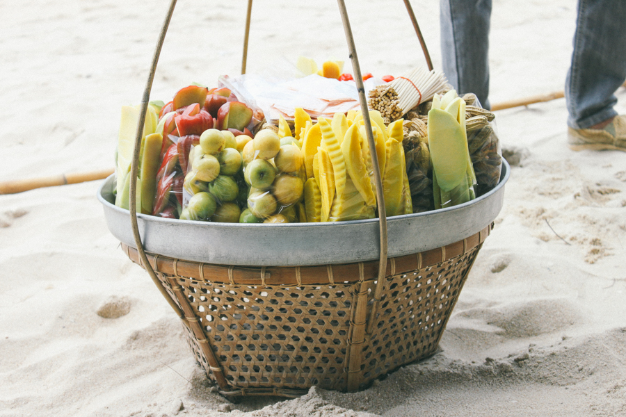 Fresh fruit for sale on the beach in Thailand.