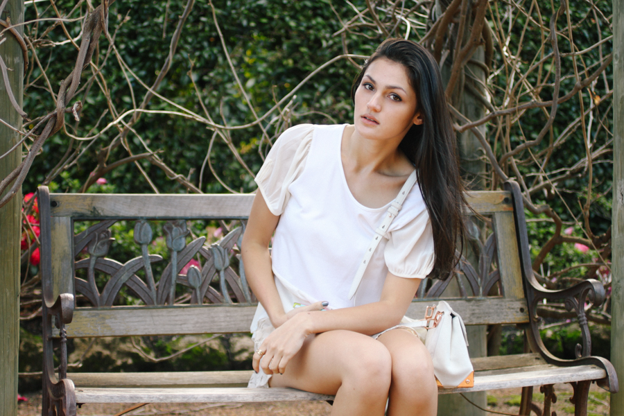 All white outfit. White peplum tee & lace skort. Alexander Wang Marion bag.