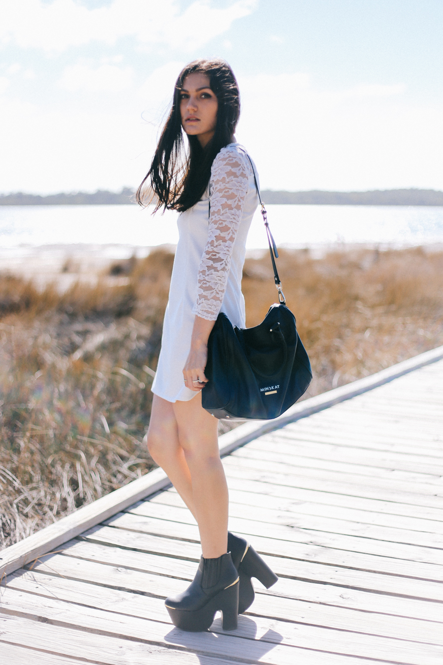 White lace shift dress from Persunmall. Minskat Copenhagen Mira bag.