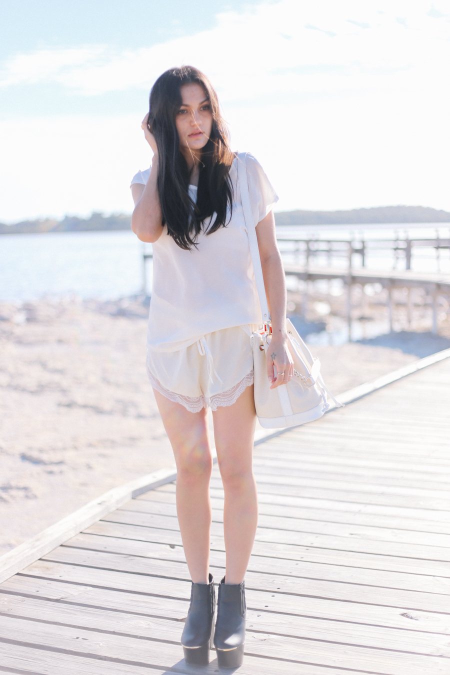 Sportsgirl silk tee, Love the Label Mystic Cami silk lace shorts, Niclaire ivory leather bucket back.