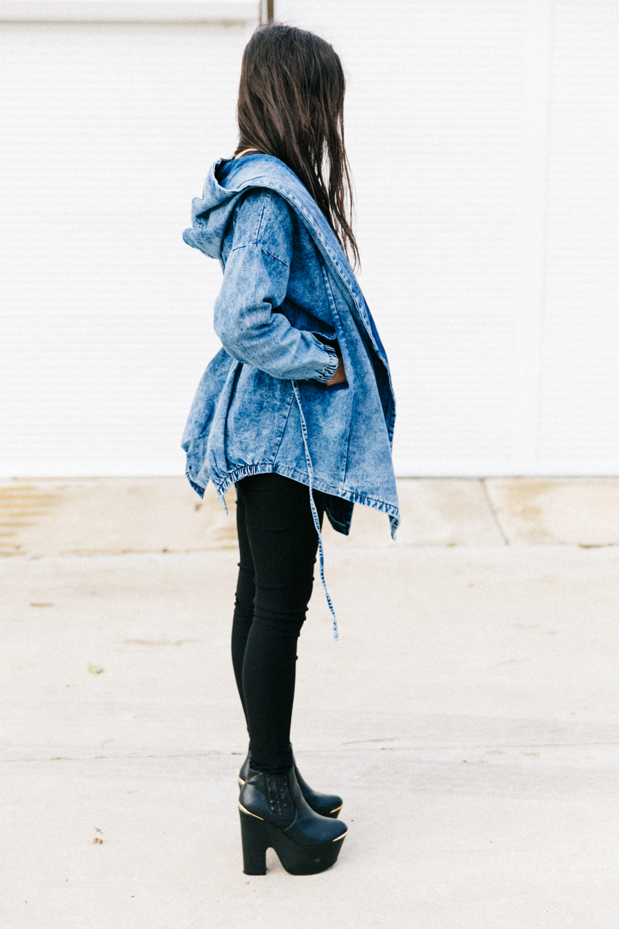 Denim Parka, red box clutch, treggings outfit & platform boots.