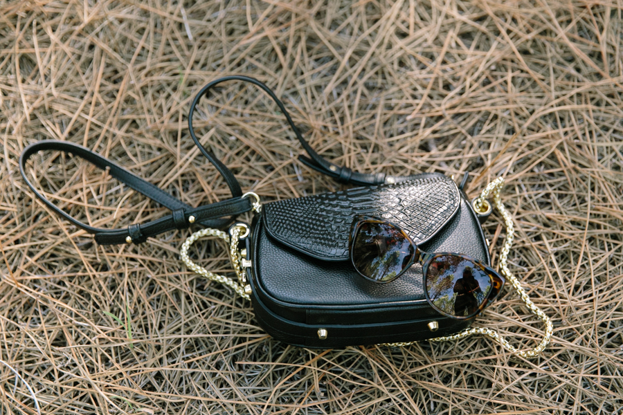 Dylan Kain Wax Snake bag & ZeroUV cat eye sunglasses.