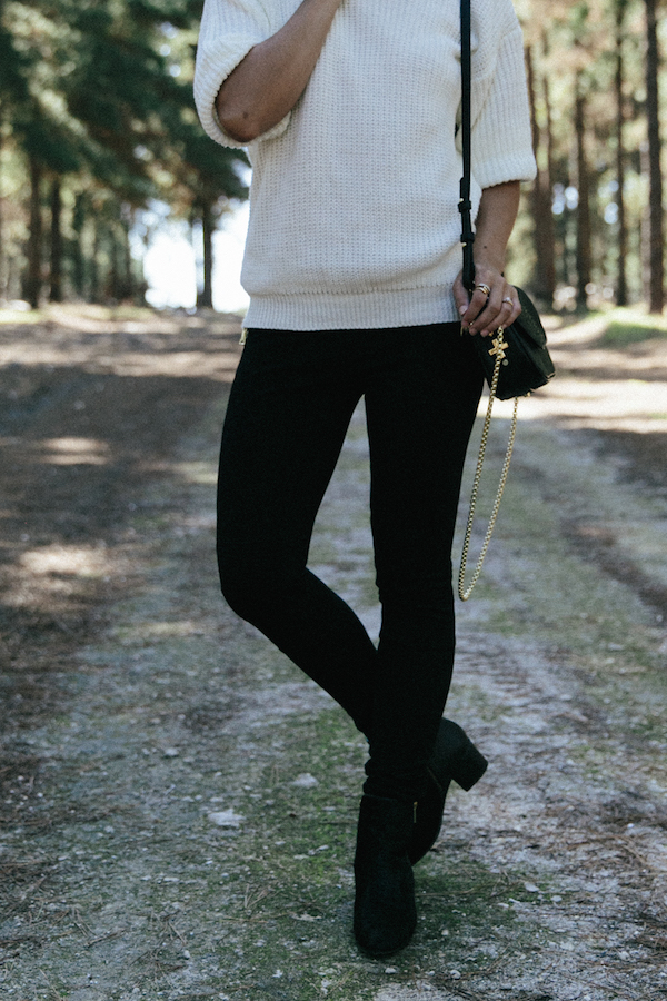 Boohoo.com treggings & knit sweater.