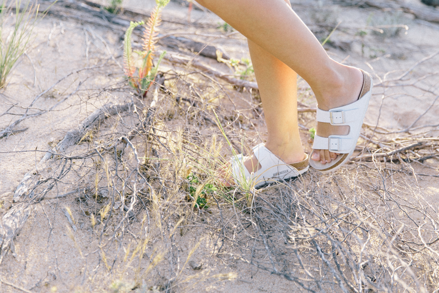 White Birkenstock Arizona sandals outfit editorial.