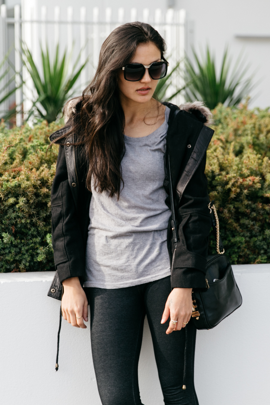 ZeroUV sunglasses. Izabel London blogger outfit. Fur hood, drawstring parka. Winter street style in Mandurah.