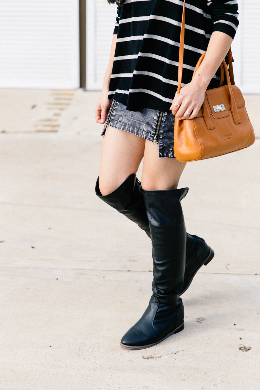 Denim skirt with knee high boots outfit. Minskat Copenhagen Helena bag.